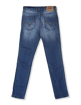 FM Boys Blue Boys Skinny Fit Striped Taping Jeans