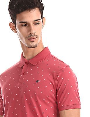 Ruggers Pink Vented Hem Printed Polo Shirt