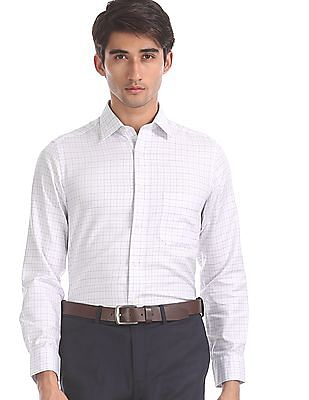Arrow White Regular Fit Patterned Check Shirt