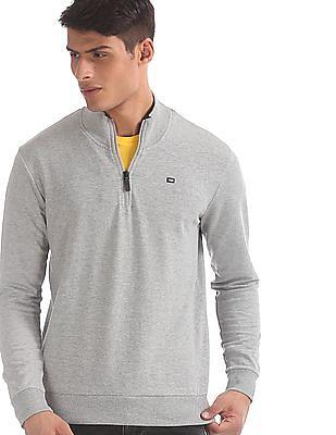 Arrow Sports Grey Heathered Half Zip Sweatshirt