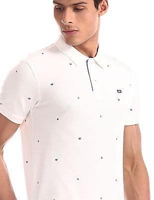 Arrow Sports White Alphabet Print Pique Polo Shirt