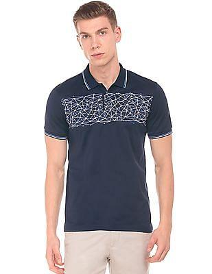 Arrow Newyork Chest Print Tipped Polo Shirt