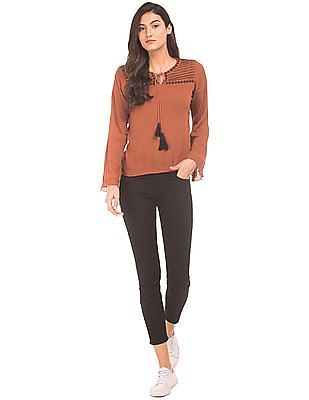 Flying Machine Women Embroidered Woven Top