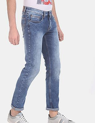 Cherokee Men Blue Washed Slim Fit Jeans
