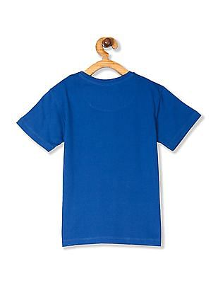 FM Boys Blue Boys Crew Neck Printed T-Shirt