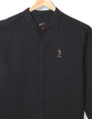 U.S. Polo Assn. Denim Co. Mandarin Collar Linen Shirt