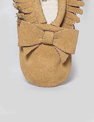 GAP Baby Brown Fringe Bow Moccasins