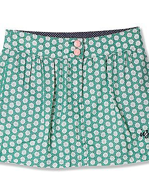 U.S. Polo Assn. Kids Girls Floral Print A-Line Skirt