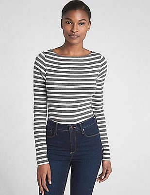 e2c50dc8f9 Buy Women Modern Striped Long Sleeve Boat Neck T-Shirt online at ...