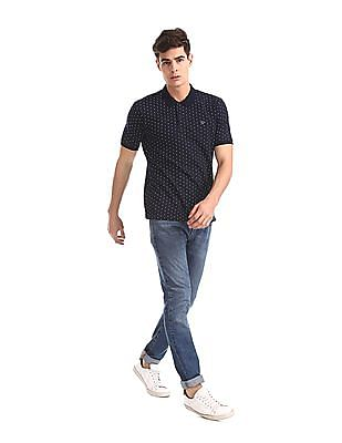 Ruggers Blue Patterned Pique Polo Shirt