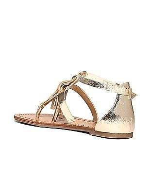 GUESS Tasselled Strap Leather Sandals