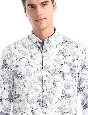 Flying Machine White Button Down Collar Printed Shirt