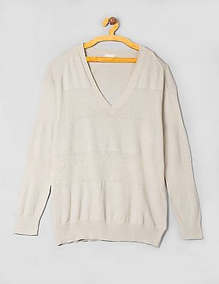 GAP Women Beige Shadow-Stripe Sweater