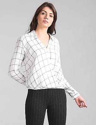 GAP Women White Plaid Wrap-Front Shirt