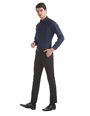 Excalibur Blue Super Slim Fit Spread Collar Shirt