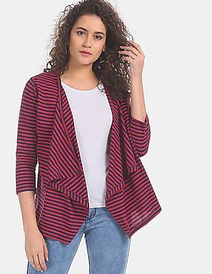 Cherokee Women Red And Navy Handkerchief Hem Striped Shrug