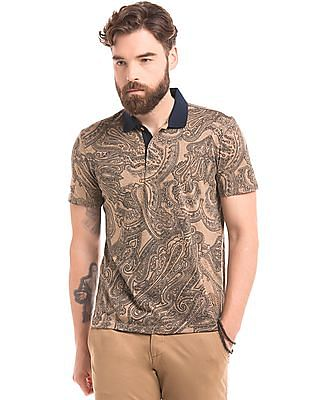 True Blue Paisley Print Slim Fit Polo Shirt