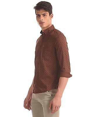 Arrow Sports Brown Slim Fit Button Down Shirt