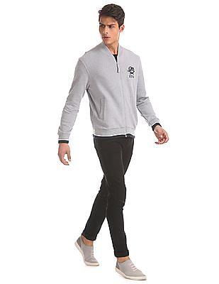 U.S. Polo Assn. Grey High Neck Heathered Sweatshirt