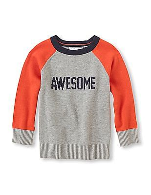 The Children's Place Baby Boy Round Neck Colour Block Sweater