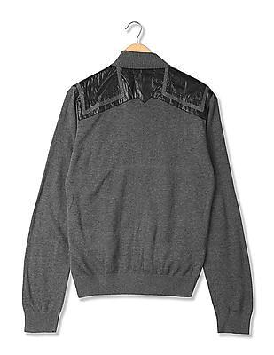 Arrow Newyork Contrast Panelled Zip Up Sweater