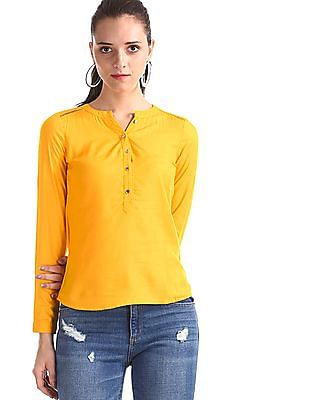 Aeropostale Yellow Mandarin Collar Patterned Weave Top
