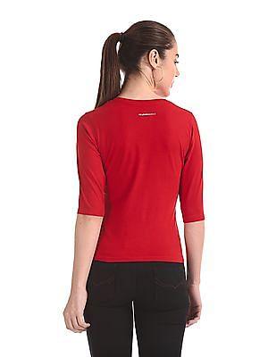 Flying Machine Women V-Neck Solid T-Shirt