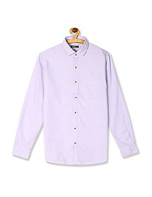 Roots by Ruggers Purple Semi Cutaway Collar Patterned Shirt
