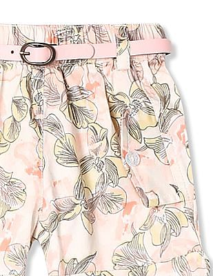 Donuts Girls Floral Print Stretch Shorts