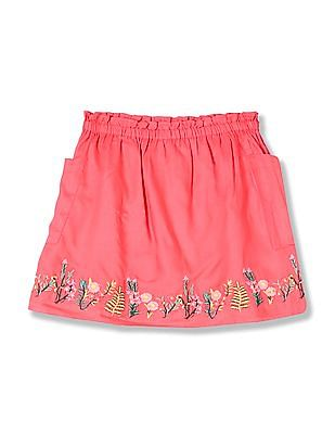 Cherokee Girls Ruffle Trim Embroidered Skirt