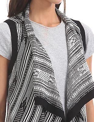 U.S. Polo Assn. Women Patterned Knit Open Front Longline Shrug