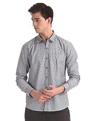 Ruggers Grey Mitered Cuff Printed Shirt
