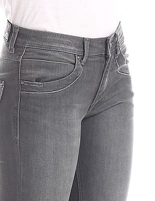 Flying Machine Women Grey Skinny Fit Washed Jeans