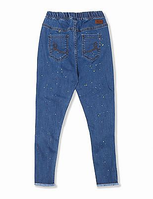 Cherokee Girls Elasticized waist Printed Jeans