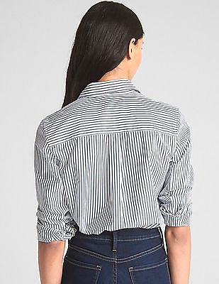 cb5e6dae Buy Women Boyfriend Fit Full Button Classic Striped Shirt online at ...