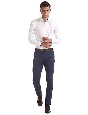 Arrow Newyork White Snug Skinny Fit French Placket Shirt