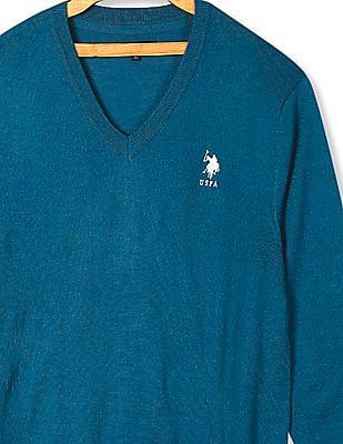U.S. Polo Assn. Green Long Sleeve V-Neck Sweater