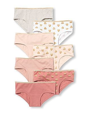 The Children's Place Girls Assorted Glitter Heart and Solid Hipsters 7-Pack