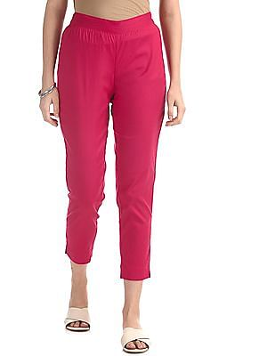 Karigari Pink Solid Cotton Stretch Pants