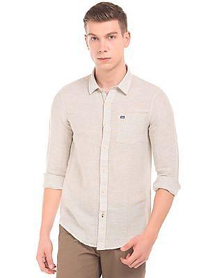 Arrow Sports Slim Fit Cotton Linen Shirt