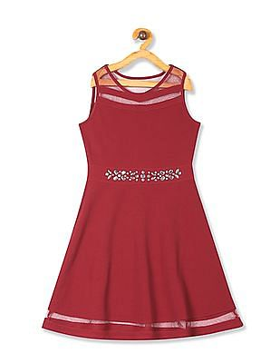 The Children's Place Red Girls Mesh Panel Studded Dress