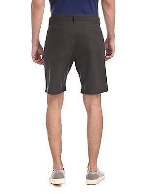 Ruggers Grey Mid Waist Solid Shorts