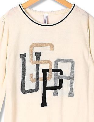 U.S. Polo Assn. Kids Girls Patterned Knit Sweater Dress