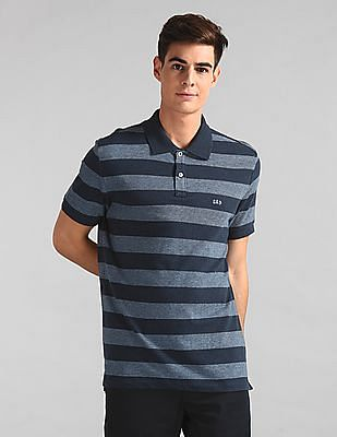 GAP Blue Short Sleeve Stripe Jacquard Polo Shirt