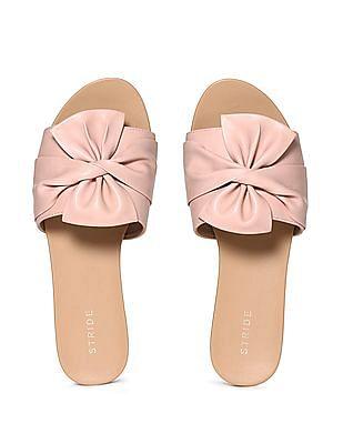 STRIDE Pink Bow Strap Slip On Sandals