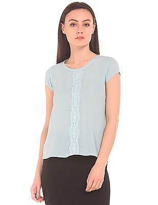 Arrow Woman Lace Trim Dobby Weave Top