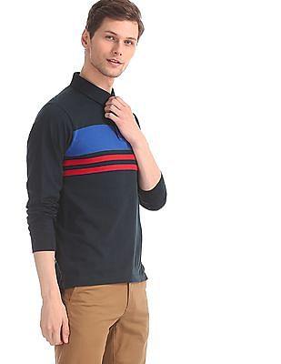 U.S. Polo Assn. Blue Long Sleeve Stripe Chest Polo Shirt