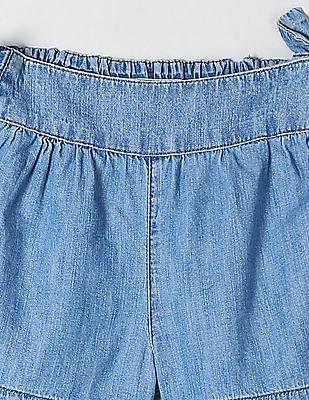 GAP Baby Blue Chambray bow culotte shorts