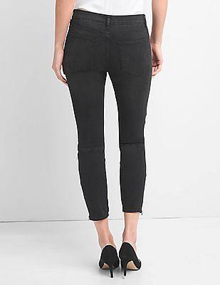 GAP Women Black Mid Rise Moto True Skinny Ankle Jeans With Zip Detail