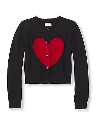 The Children's Place Girls Heart Icon Knit Cardigan
